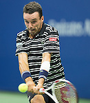 Roberto Bautista Agut (ESP) loses the first set to Novak Djokovic (SRB) 6-3 at the US Open in Flushing, NY on September 6, 2015.