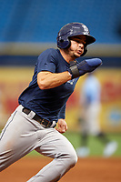 Connor Hollis (4) runs the bases during the Tampa Bay Rays Instructional League Intrasquad World Series game on October 3, 2018 at the Tropicana Field in St. Petersburg, Florida.  (Mike Janes/Four Seam Images)