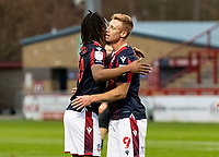 Bolton Wanderers' Eoin Doyle (right) celebrates scoring his side's first goal with team mate Peter Kioso <br /> <br /> Photographer Andrew Kearns/CameraSport<br /> <br /> The EFL Sky Bet League Two - Stevenage v Bolton Wanderers - Saturday 21st November 2020 - Lamex Stadium - Stevenage<br /> <br /> World Copyright © 2020 CameraSport. All rights reserved. 43 Linden Ave. Countesthorpe. Leicester. England. LE8 5PG - Tel: +44 (0) 116 277 4147 - admin@camerasport.com - www.camerasport.com