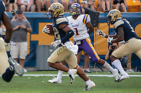 Pitt wide receiver Araujo-Lopes (82) makes a 42-yard touchdown catch and run. The Pitt Panthers football team defeated the Albany Great Danes 33-7 on September 01, 2018 at Heinz Field, Pittsburgh, Pennsylvania.