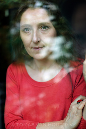 French author, Marie Darrieusecq, is seen inside her home in Paris on Sept. 14, 2012.
