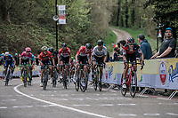 Dylan Teuns (BEL/BMC) leads the chase of the peloton. <br /> <br /> 53th Amstel Gold Race (1.UWT)<br /> 1 Day Race: Maastricht > Berg en Terblijt (263km)
