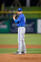Dunedin Blue Jays relief pitcher Nick Hartman (14) gets ready to deliver a pitch during a game against the Clearwater Threshers on April 6, 2018 at Spectrum Field in Clearwater, Florida.  Clearwater defeated Dunedin 8-0.  (Mike Janes/Four Seam Images)