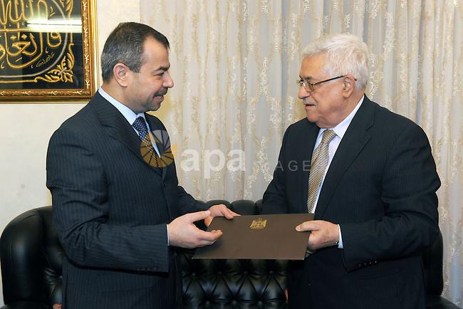 Palestinian President Mahmoud Abbas, receives an invitation from Iraqi President Jalal Talabani, to attend the Arab summit in the Jordan Capital of Amman, on Feb. 27, 2012.  Photo by Thaer Ganaim