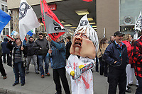 Montreal, CANADA - File - CSN Demonstration against the  austerity measures proposed  by the Quebec Liberal Goverment, Nov  6 , 2014.