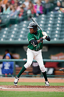 Great Lakes Loons shortstop Oneil Cruz (35) at bat during a game against the Burlington Bees on May 4, 2017 at Dow Diamond in Midland, Michigan.  Great Lakes defeated Burlington 2-1.  (Mike Janes/Four Seam Images)