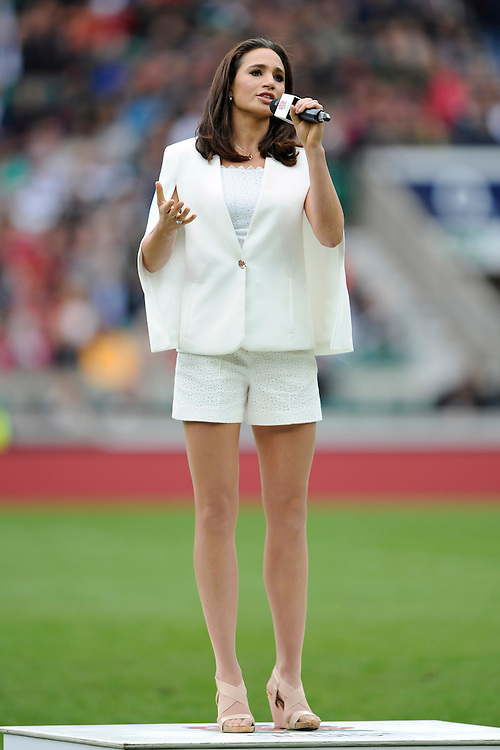 Laura Wright sings the national anthem before the match between England and Barbarians at Twickenham Stadium on Sunday 31st May 2015 (Photo by Rob Munro)