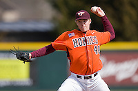 Relief pitcher Joe Mantiply #40 of the Virginia Tech Hokies in action against the Wake Forest Demon Deacons at English Field March 27, 2010, in Blacksburg, Virginia.  Photo by Brian Westerholt / Four Seam Images