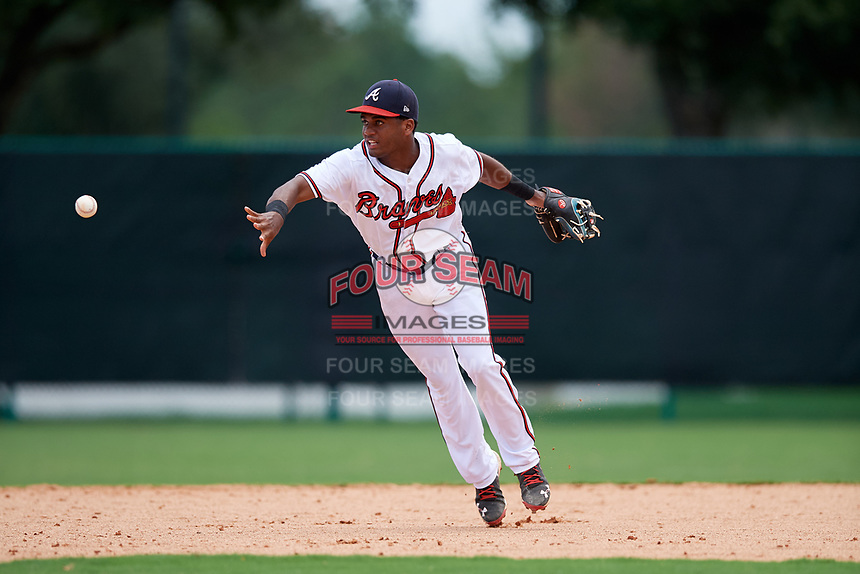 GCL Braves second baseman Luis Ovando (7) flips the ball to second base during the second game of a doubleheader against the GCL Yankees West on July 30, 2018 at Champion Stadium in Kissimmee, Florida.  GCL Braves defeated GCL Yankees West 5-4.  (Mike Janes/Four Seam Images)