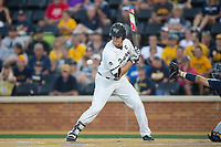 Gavin Sheets (24) of the Wake Forest Demon Deacons is hit by a pitch during the game against the West Virginia Mountaineers in Game Four of the Winston-Salem Regional in the 2017 College World Series at David F. Couch Ballpark on June 3, 2017 in Winston-Salem, North Carolina.  The Demon Deacons walked-off the Mountaineers 4-3.  (Brian Westerholt/Four Seam Images)