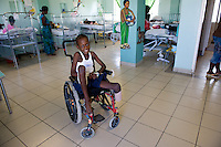 Devastation after the January 12, 2010 earthquake. Children being treated at St. Damien's Hospital.  2/2/10