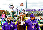 November 2, 2018: Bulletin #5, ridden by Javier Castellano, wins the Juvenile Turf Sprint on Breeders' Cup World Championship Friday at Churchill Downs on November 2, 2018 in Louisville, Kentucky. Jessica Morgan/Eclipse Sportswire/CSM