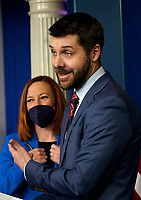 United States National Economic Council Director Brian Deese and White House Press Secretary Jen Psaki hold a press briefing in the Brady Press Briefing Room of the White House in Washington, DC on April 26, 2021. <br /> CAP/MPI/RS<br /> ©RS/MPI/Capital Pictures