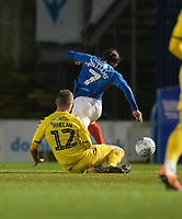 Portsmouth's Ryan Williams (right) is fouled by Fleetwood Town's Glenn Whelan (left) resulting in a yellow card<br /> <br /> Photographer David Horton/CameraSport<br /> <br /> The EFL Sky Bet League One - Portsmouth v Fleetwood Town - Tuesday 10th March 2020 - Fratton Park - Portsmouth<br /> <br /> World Copyright © 2020 CameraSport. All rights reserved. 43 Linden Ave. Countesthorpe. Leicester. England. LE8 5PG - Tel: +44 (0) 116 277 4147 - admin@camerasport.com - www.camerasport.com