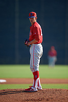 Philadelphia Phillies Kevin Gowdy (34) during a Minor League Spring Training game against the New York Yankees on March 23, 2019 at the New York Yankees Minor League Complex in Tampa, Florida.  (Mike Janes/Four Seam Images)