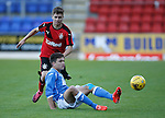 St Johnstone v Rangers...29.09.15   SPFL Development League  McDiarmid Park, Perth<br /> Aaron Comrie and Jamie Lumsden<br /> Picture by Graeme Hart.<br /> Copyright Perthshire Picture Agency<br /> Tel: 01738 623350  Mobile: 07990 594431