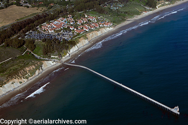 aerial photograph of the Ellwood Pier and the Ritz-Carlton Bacara, Goleta, Santa Barbara County, California