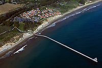 aerial photograph of the Ellwood Pier and the Ritz-Carlton Bacara, Goleta, Santa Barbara County, California