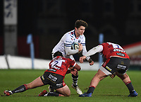 12th February 2021; Kingsholm Stadium, Gloucester, Gloucestershire, England; English Premiership Rugby, Gloucester versus Bristol Bears; Piers O'Conor of Bristol Bears is tackled by Val Rapava-Ruskin and Henry Walker of Gloucester