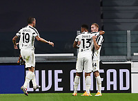 Calcio, Serie A: Juventus - Sampdoria, Turin, Allianz Stadium, September 20, 2020.<br /> Juventus' Delan Kulusevski (r) celebrates after scoring with his teammate Danilo (c) and Leonardo Bonucci (l) during the Italian Serie A football match between Juventus and Sampdoria at the Allianz stadium in Turin, September 20,, 2020.<br /> UPDATE IMAGES PRESS/Isabella Bonotto