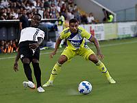 22nd September 2021; Picco Stadium, La Spezia, Italy; Serie A football, Spezia FC versus Juventus  FC: Emmanuel Gyasi of Spezia and Danilo of Juventus