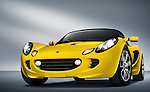 Low angular front view of a yellow 2009 Lotus Elise