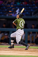 Biloxi Shuckers right fielder Trent Grisham (6) follows through on a swing during a game against the Jacksonville Jumbo Shrimp on June 8, 2018 at Baseball Grounds of Jacksonville in Jacksonville, Florida.  Biloxi defeated Jacksonville 5-3.  (Mike Janes/Four Seam Images)