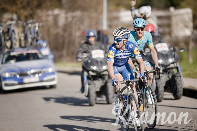 race leaders Jakob FUGLSANG (DEN/Astana) & Julian ALAPHILIPPE (FRA/Deceuninck-Quick Step) conquering the final kilometers before entering Siena<br /> <br /> 13th Strade Bianche 2019 (1.UWT)<br /> One day race from Siena to Siena (184km)<br /> <br /> ©kramon
