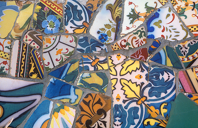 Detail, Gaudi-designed Guell Park, Barcelona, Catalonia, Spain