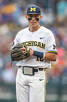 Michigan Wolverines third baseman Blake Nelson (10) in action against the Vanderbilt Commodores during Game 2 of the NCAA College World Series Finals on June 25, 2019 at TD Ameritrade Park in Omaha, Nebraska. Vanderbilt defeated Michigan 4-1. (Andrew Woolley/Four Seam Images)