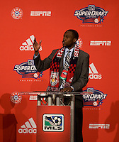 Tony Tchani of the University of Virginia speaks to the crowd after being the  second overall pick of  the MLS Superdraft by the New York Red Bulls at the Pennsylvania Convention Center in Philadelphia, PA.