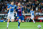 Lionel Andres Messi (R) of FC Barcelona fights for the ball with Aaron Martin Caricol (L) of RCD Espanyol during the La Liga match between FC Barcelona vs RCD Espanyol at the Camp Nou on 09 September 2017 in Barcelona, Spain. Photo by Vicens Gimenez / Power Sport Images