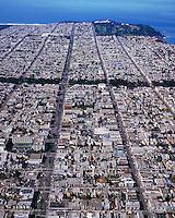 aerial photograph Geary Street Richmond district San Francisco California
