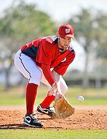 19 February 2011: Washington Nationals' pitcher Stephen Strasburg works on fielding drills at the Carl Barger Baseball Complex in Viera, Florida. Mandatory Credit: Ed Wolfstein Photo