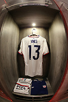 GUADALAJARA, MEXICO - MARCH 24: The locker of Samuel Vines #13 of the United States before a game between Mexico and USMNT U-23 at Estadio Jalisco on March 24, 2021 in Guadalajara, Mexico.