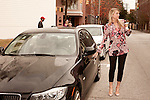 November 27, 2012. Charleston, South Carolina.. Alexa Wyatt leaves a downtown coffee shop after a meeting with another wedding planner.. Alexa Wyatt, 23, is an Event Coordinator with Southern Protocol, a boutique wedding and event planning company in Charleston, SC..