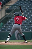 AZL Diamondbacks shortstop Alex King (9) at bat during an Arizona League game against the AZL Angels at Tempe Diablo Stadium on June 27, 2018 in Tempe, Arizona. The AZL Angels defeated the AZL Diamondbacks 5-3. (Zachary Lucy/Four Seam Images)