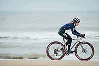 US Champion Clara Honsinger (USA/Cannondale-Cyclocrossworld) racing next to the seashore<br /> <br /> UCI 2021 Cyclocross World Championships - Ostend, Belgium<br /> <br /> Women's Race<br /> <br /> ©kramon