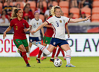 HOUSTON, TX - JUNE 10: Samantha Mewis #3 of the USWNT takes a shot during a game between Portugal and USWNT at BBVA Stadium on June 10, 2021 in Houston, Texas.