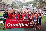 Spain Team celebrates winning the World Rugby Sevens Series Qualifier final as part of the HSBC Hong Kong Rugby Sevens 2017 on 09 April 2017 in Hong Kong Stadium, Hong Kong, China. Photo by Weixiang Lim / Power Sport Images