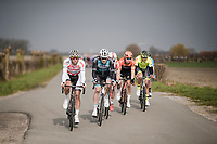 the breakaway group about to get caught by the peloton<br /> <br /> 43rd Driedaagse Brugge-De Panne 2019 <br /> One day race (1.UWT) from Brugge to De Panne BEL (200km)<br /> <br /> ©kramon