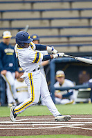 Michigan Wolverines second baseman Ako Thomas (4) swings the bat against the Bowling Green Falcons on April 6, 2016 at Ray Fisher Stadium in Ann Arbor, Michigan. Michigan defeated Bowling Green 5-0. (Andrew Woolley/Four Seam Images)