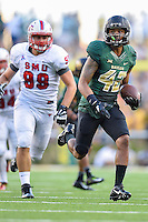 Baylor inside receiver Levi Norwood (42) returns a kick during first half of NCAA inaugural Football game at newly constructed McLean Stadium, Sunday, August 31, 2014 in Waco, Tex. Baylor leads SMU 31-0 in the first half. (Mo Khursheed/TFV Media via AP Images)