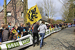 Fans await the race to arrive on the Molenberg climb during the 96th edition of The Tour of Flanders 2012, running 256.9km from Bruges to Oudenaarde, Belgium. 1st April 2012. <br /> (Photo by Eoin Clarke/NEWSFILE).
