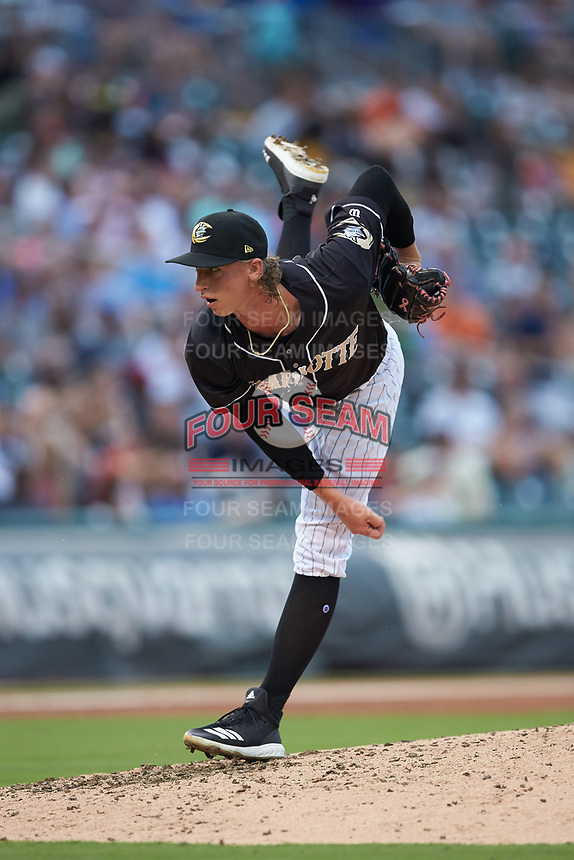 Charlotte Knights starting pitcher Michael Kopech (34) follows through on his delivery against the Pawtucket Red Sox at BB&T BallPark on July 19, 2018 in Charlotte, North Carolina. The Knights defeated the Red Sox 4-3.  (Brian Westerholt/Four Seam Images)