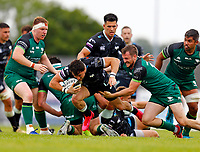 4th June 2021; Galway Sportsgrounds, Galway, Connacht, Ireland; Rainbow Cup Rugby, Connacht versus Ospreys; Luke Morgan drives forward for Ospreys under pressure from Connacht players Shane Delahunt and Jack Carty