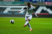Monday 20 January 2014<br /> Pictured: Jernade Meade crosses the ball into the box <br /> Re: Swansea City U21 v Cardiff City U21 at the Liberty Stadium, Swansea Wales