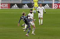 ST PAUL, MN - OCTOBER 28: Emanuel Reynoso #10 of Minnesota United FC and Jack Price #19 of Colorado Rapids battle for the ball during a game between Colorado Rapids and Minnesota United FC at Allianz Field on October 28, 2020 in St Paul, Minnesota.