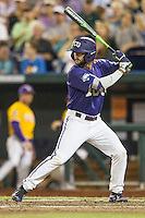 TCU Horned Frogs second baseman Garrett Crain (34) at bat against the LSU Tigers in Game 10 of the NCAA College World Series on June 18, 2015 at TD Ameritrade Park in Omaha, Nebraska. TCU defeated the Tigers 8-4, eliminating LSU from the tournament. (Andrew Woolley/Four Seam Images)