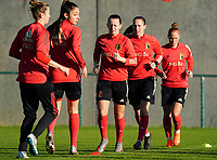 20200911 - TUBIZE , Belgium : Hannah Eurlings, Lenie Onzia and Janice Cayman pictured during the training session of the Belgian Women's National Team, Red Flames ahead of the Women's Euro Qualifier match against Switzerland, on the 28th of November 2020 at Proximus Basecamp. PHOTO: SEVIL OKTEM   SPORTPIX.BE